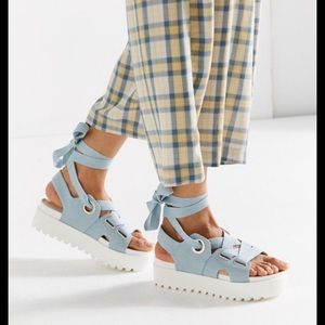 Urban outfitters denim lace up platforms